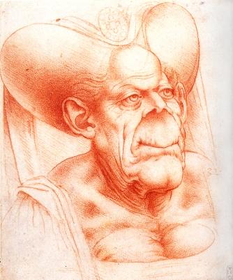 Leonardo Da Vinci, 'Grotesque Head', red chalk on paper. Image: wikimedia.org