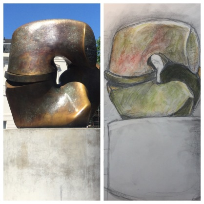 Henry Moore's 'Lock and Piece' public sculpture on Millbank, London