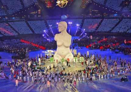 Marc Quinn's 'Alison Lapper' statue, London 2012 Paralympics Opening Ceremony. Image courtesy Independent.co.uk and Getty Images.