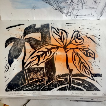 In this linocut print, the subject (plant) and its shadow share the same quality of one - where rhythm is made possible in the 'staccato' marks in the background surrounding the plant like a halo and suggesting movement.