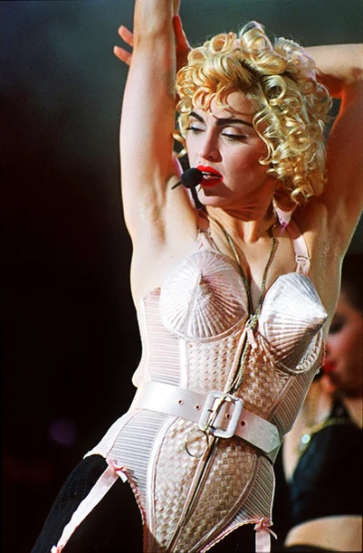 Madonna in Jean-Paul Gautier 'cone bra' on tour in 1990. Image courtesy ew.com