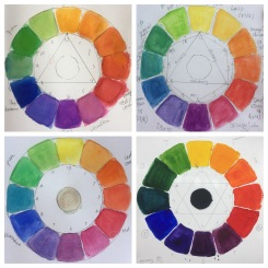 Example colour wheels based on Betty Edwards' template, using ink and watercolour. (clockwise from top left: Winsor & Newon ink, Cotner pan watercolour, Koh-i-noor pan watercolour, Artisan oils)